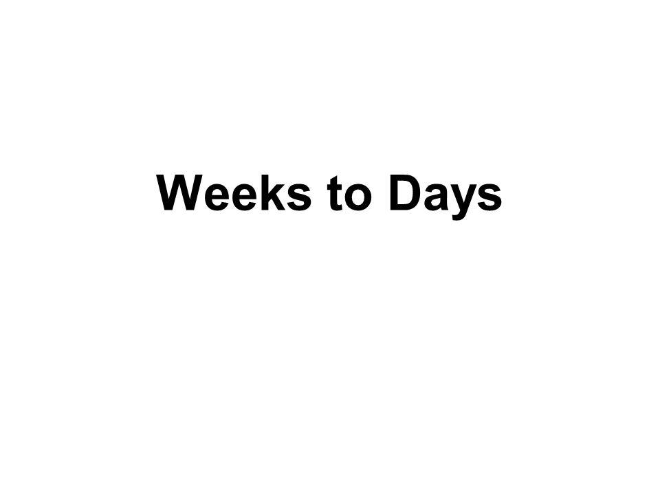2009 DENVER Weeks to Days
