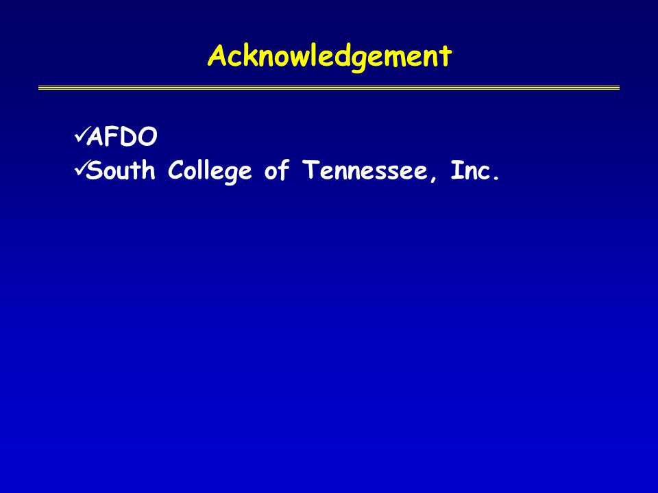 Acknowledgement AFDO South College of Tennessee, Inc.