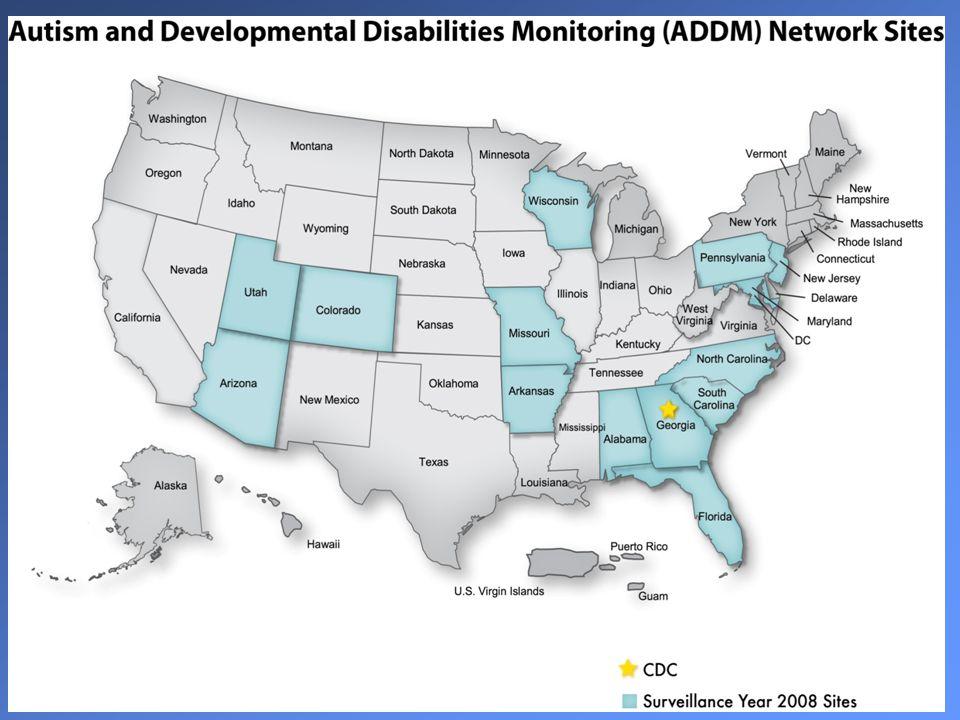 ADDM NETWORK 2008 Estimated Prevalence per 1,000 by Race /Ethnicity ADDM NetworkArapahoe County Average rateRangeRate95% CI White, non-Hispanic12.04.6 - 40.014.811.5 - 19.1 Black, non-Hispanic10.23.0 - 25.910.55.8 - 18.9 Hispanic 7.91.4 - 20.0 6.74.1 - 11.1