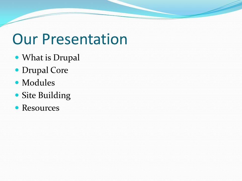Contrib Modules All of the contrib modules you use should come from the Drupal site unless you know the author or you are the author.