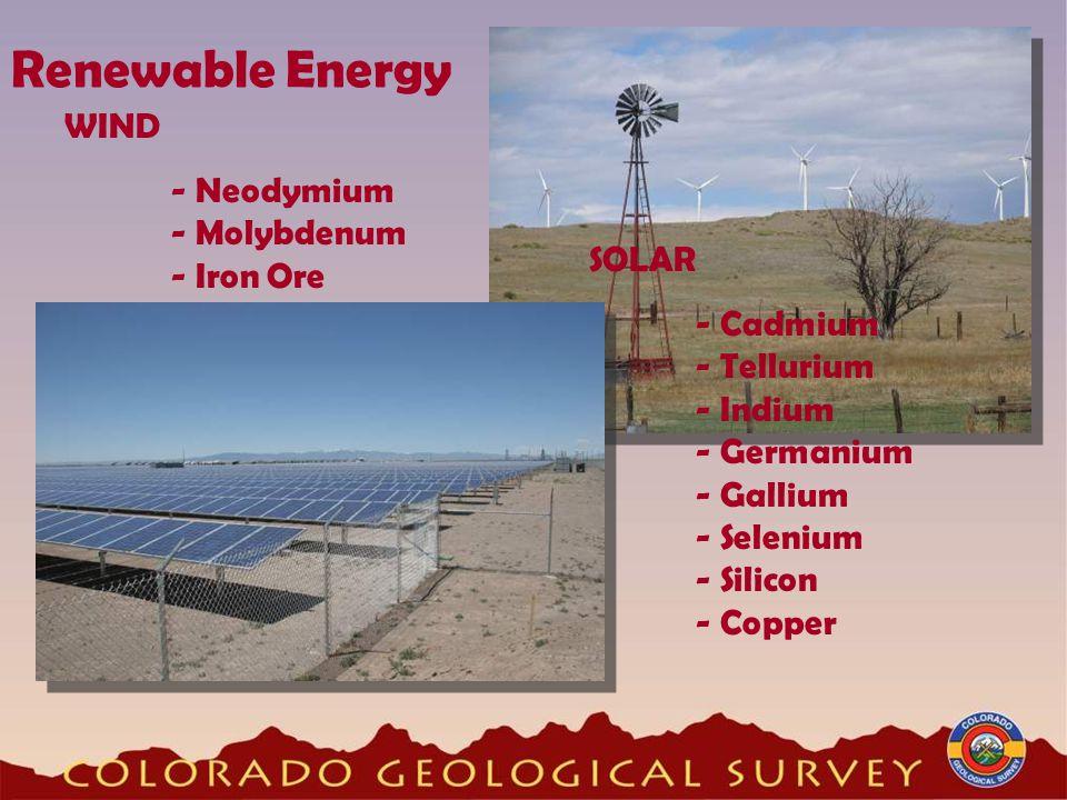 Renewable Energy WIND - Neodymium - Molybdenum - Iron Ore SOLAR - Cadmium - Tellurium - Indium - Germanium - Gallium - Selenium - Silicon - Copper