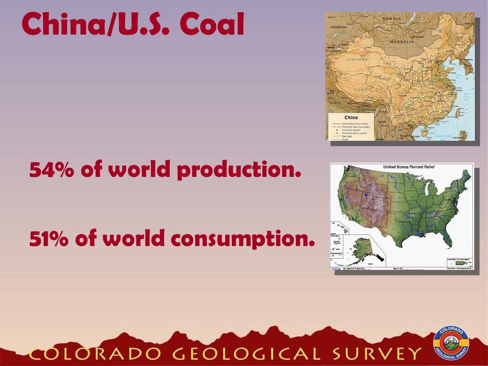 China/U.S. Coal 51% of world consumption. 54% of world production.