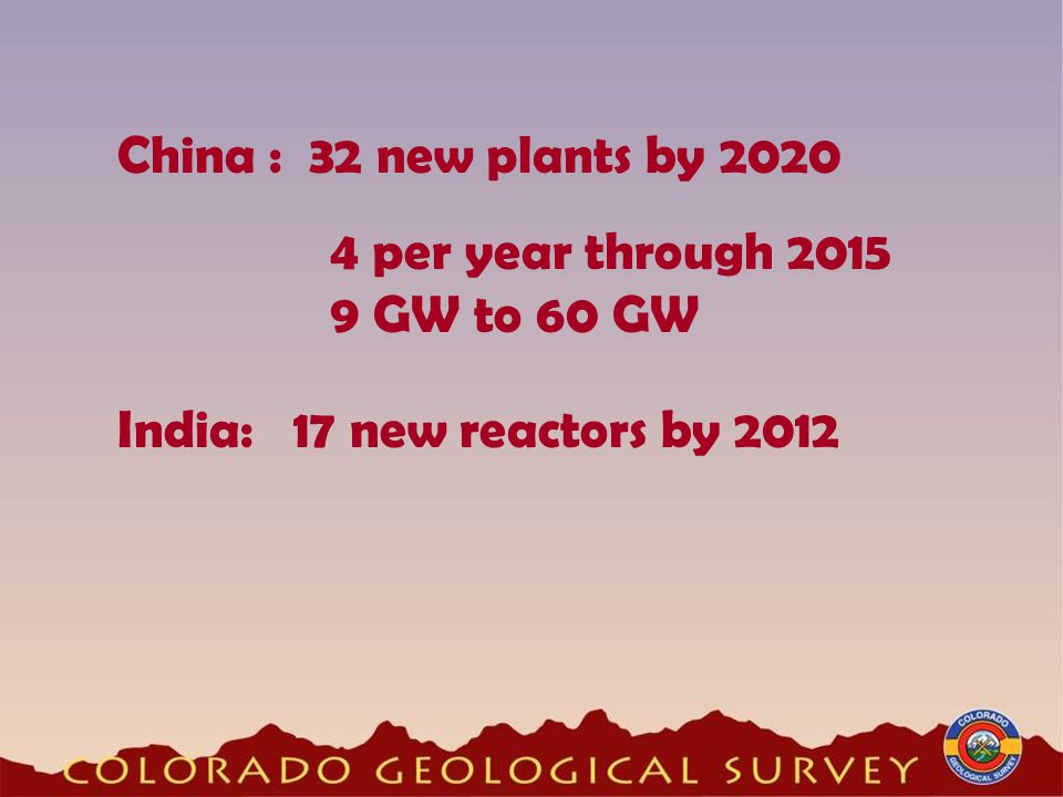 China : 32 new plants by 2020 4 per year through 2015 9 GW to 60 GW India: 17 new reactors by 2012