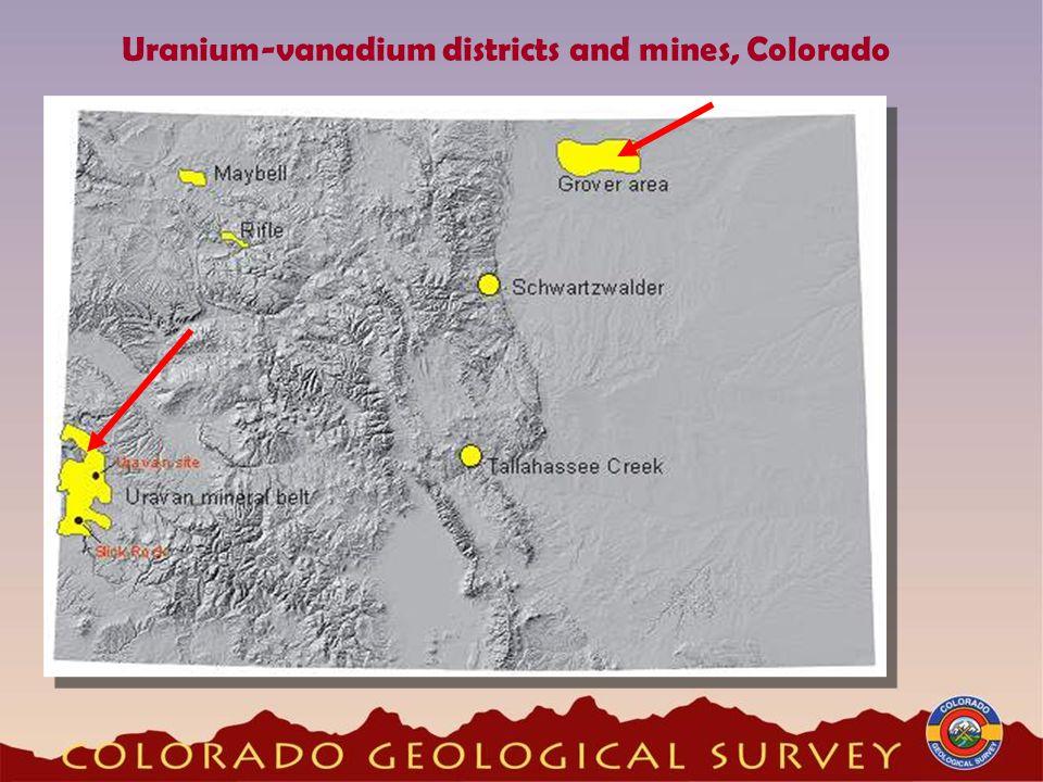 Uranium-vanadium districts and mines, Colorado