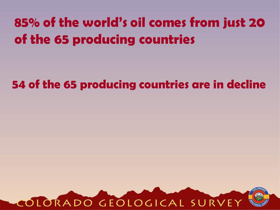 85% of the world's oil comes from just 20 of the 65 producing countries 54 of the 65 producing countries are in decline