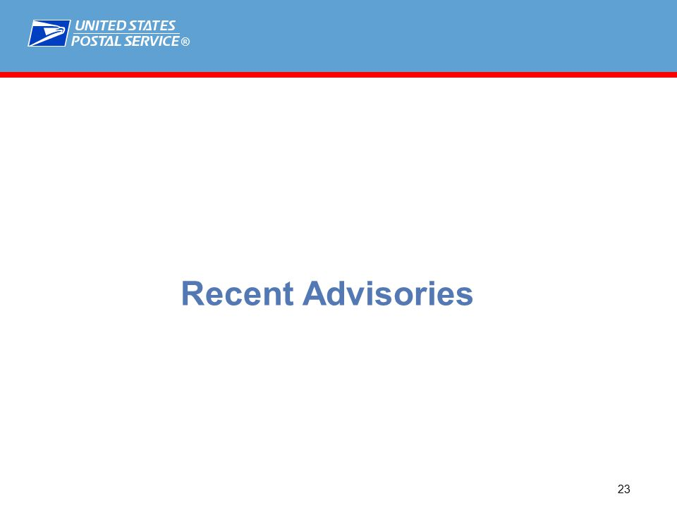 ® 23 Recent Advisories