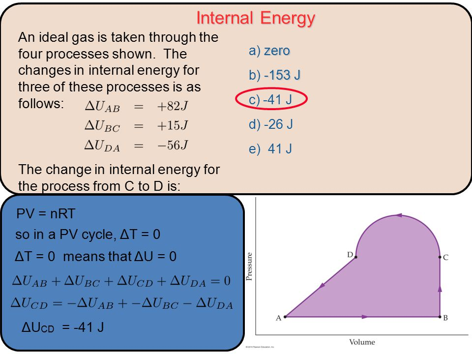 Internal Energy zero a) zero -153 J b) -153 J c) -41 J d) -26 J e) 41 J An ideal gas is taken through the four processes shown.