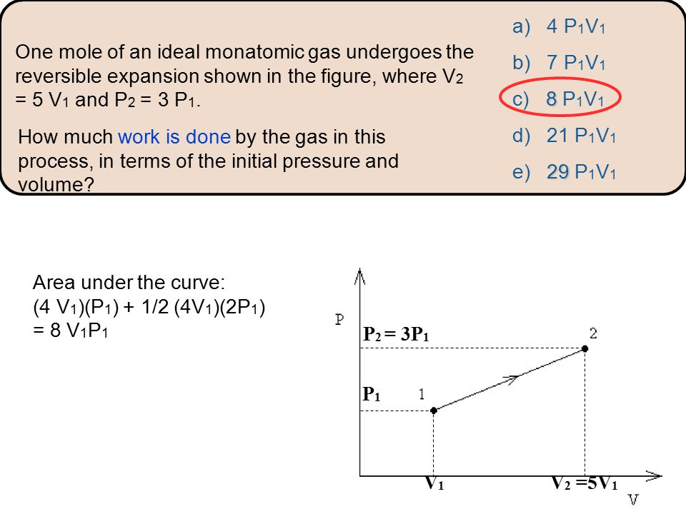 a) 4 P 1 V 1 b) 7 P 1 V 1 8 c) 8 P 1 V 1 d) 21 P 1 V 1 29 e) 29 P 1 V 1 How much work is done by the gas in this process, in terms of the initial pressure and volume.