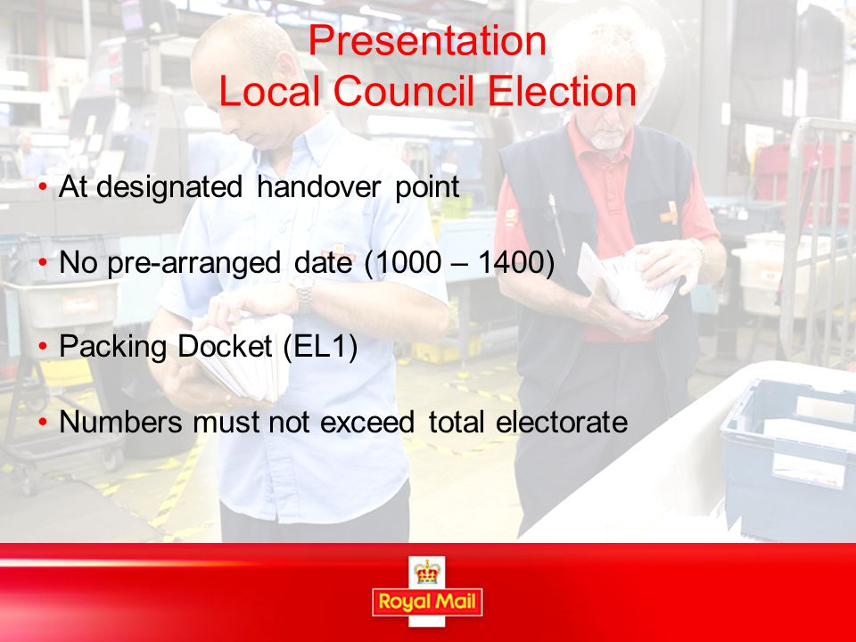Presentation Local Council Election At designated handover point No pre-arranged date (1000 – 1400) Packing Docket (EL1) Numbers must not exceed total electorate