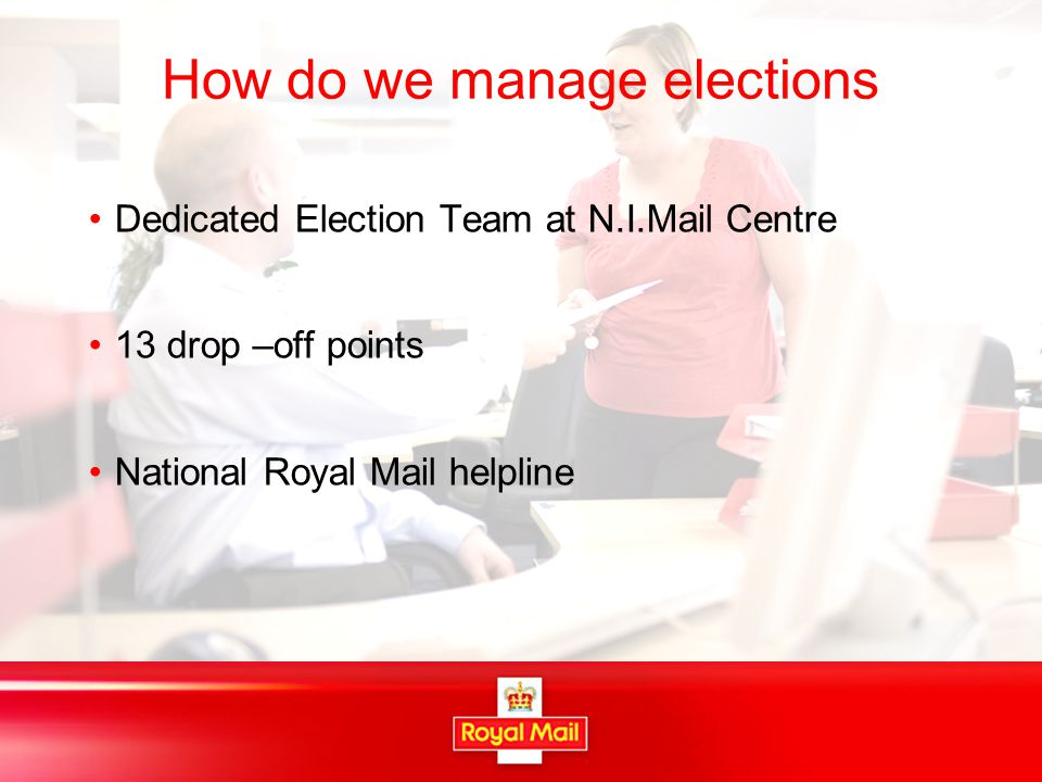 Contact Details www.royalmail.com\elections Vetting Team 0845 6076424 Artwork.vetting@royalmail.com Election Support 0845 6076416 Election.support@royalmail.com Alex Denver 028 90846138 alex.denver@royalmail.com