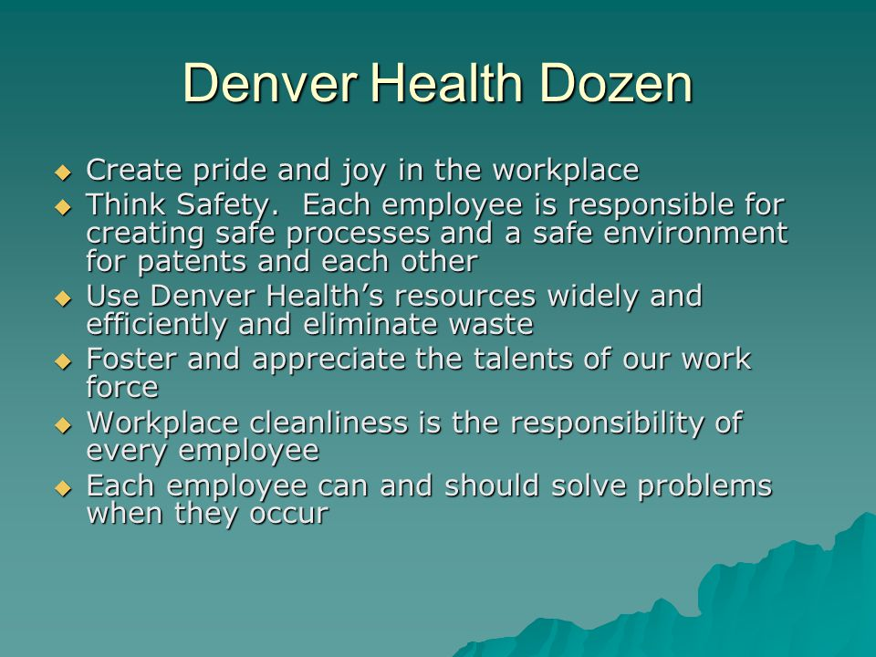 Denver Health Dozen  Create pride and joy in the workplace  Think Safety. Each employee is responsible for creating safe processes and a safe enviro