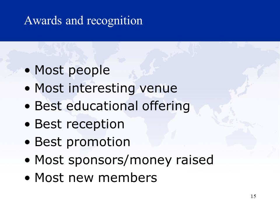 Awards and recognition Most people Most interesting venue Best educational offering Best reception Best promotion Most sponsors/money raised Most new