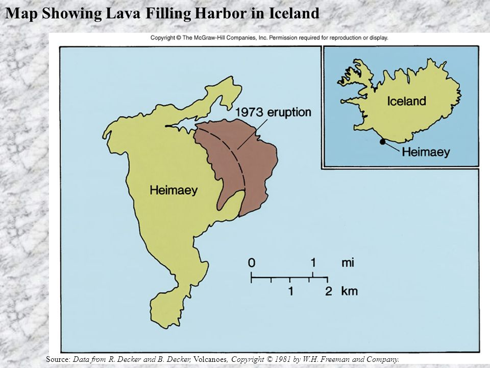 Map Showing Lava Filling Harbor in Iceland Source: Data from R.