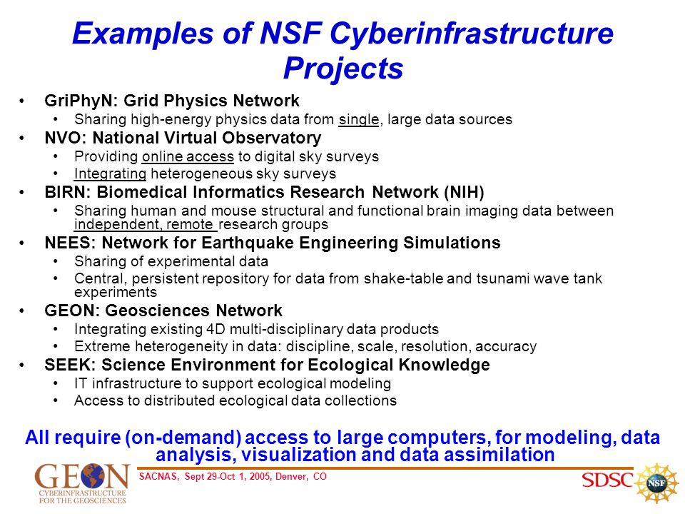 SACNAS, Sept 29-Oct 1, 2005, Denver, CO Examples of NSF Cyberinfrastructure Projects GriPhyN: Grid Physics Network Sharing high-energy physics data from single, large data sources NVO: National Virtual Observatory Providing online access to digital sky surveys Integrating heterogeneous sky surveys BIRN: Biomedical Informatics Research Network (NIH) Sharing human and mouse structural and functional brain imaging data between independent, remote research groups NEES: Network for Earthquake Engineering Simulations Sharing of experimental data Central, persistent repository for data from shake-table and tsunami wave tank experiments GEON: Geosciences Network Integrating existing 4D multi-disciplinary data products Extreme heterogeneity in data: discipline, scale, resolution, accuracy SEEK: Science Environment for Ecological Knowledge IT infrastructure to support ecological modeling Access to distributed ecological data collections All require (on-demand) access to large computers, for modeling, data analysis, visualization and data assimilation