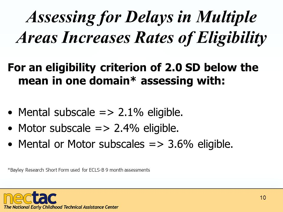 10 Assessing for Delays in Multiple Areas Increases Rates of Eligibility For an eligibility criterion of 2.0 SD below the mean in one domain* assessing with: Mental subscale => 2.1% eligible.