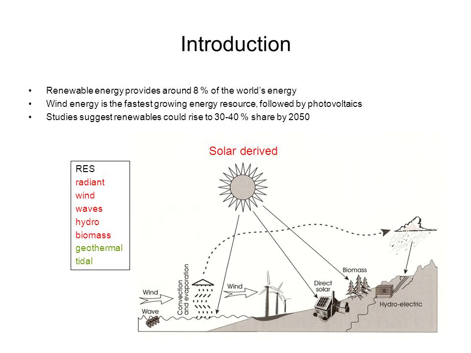 Introduction Renewable energy provides around 8 % of the world's energy Wind energy is the fastest growing energy resource, followed by photovoltaics