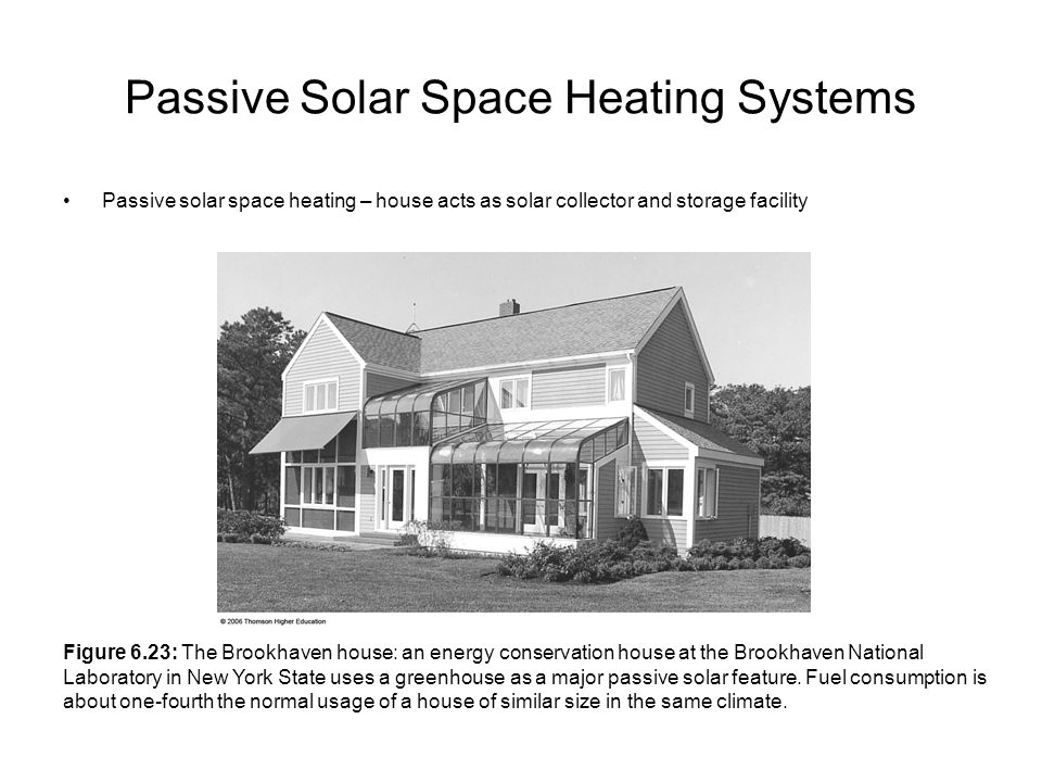 Passive Solar Space Heating Systems Passive solar space heating – house acts as solar collector and storage facility Figure 6.23: The Brookhaven house: an energy conservation house at the Brookhaven National Laboratory in New York State uses a greenhouse as a major passive solar feature.