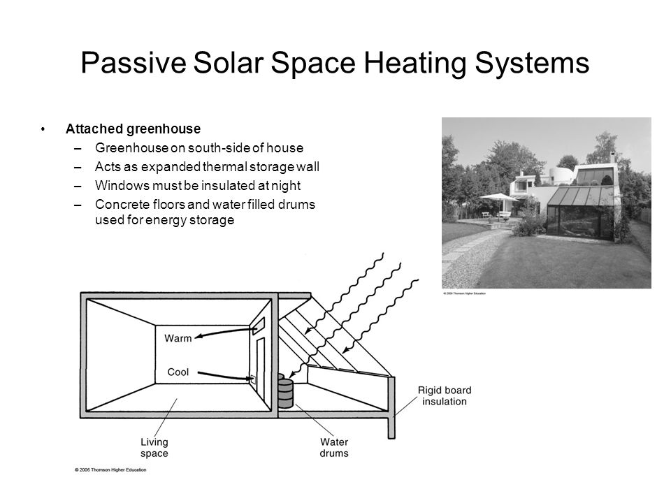 Passive Solar Space Heating Systems Attached greenhouse –Greenhouse on south-side of house –Acts as expanded thermal storage wall –Windows must be insulated at night –Concrete floors and water filled drums used for energy storage