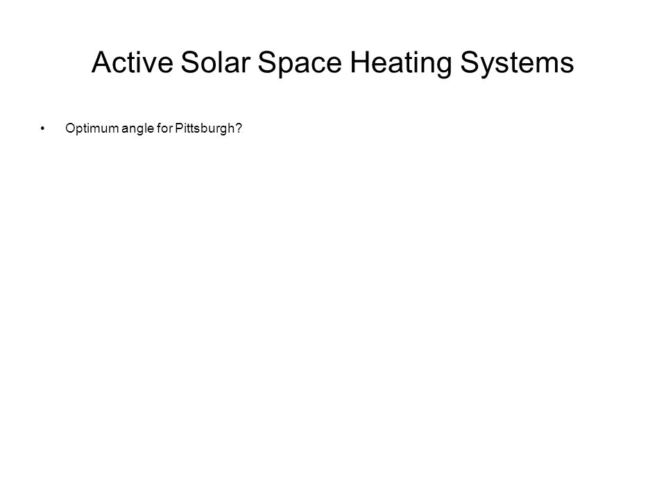 Active Solar Space Heating Systems Optimum angle for Pittsburgh?