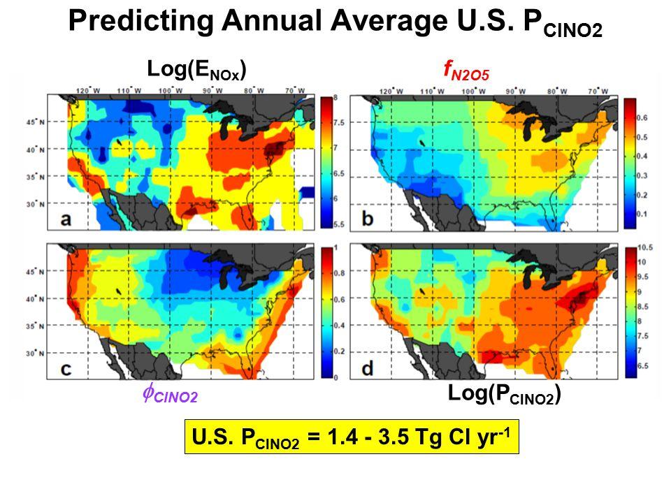 Predicting Annual Average U.S. P ClNO2 Log(E NOx )  ClNO2 f N2O5 Log(P ClNO2 ) U.S. P ClNO2 = 1.4 - 3.5 Tg Cl yr -1