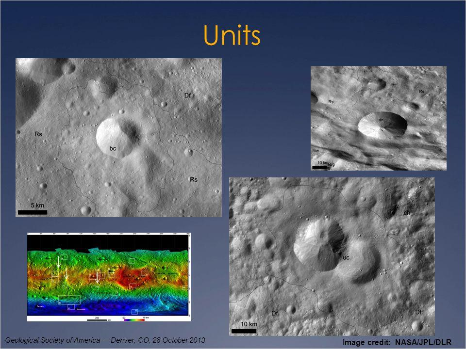 Units Geological Society of America — Denver, CO, 28 October 2013 Image credit: NASA/JPL/DLR