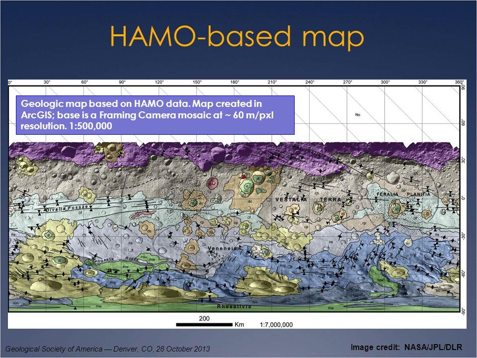 HAMO-based map Geological Society of America — Denver, CO, 28 October 2013 Image credit: NASA/JPL/DLR Geologic map based on HAMO data. Map created in