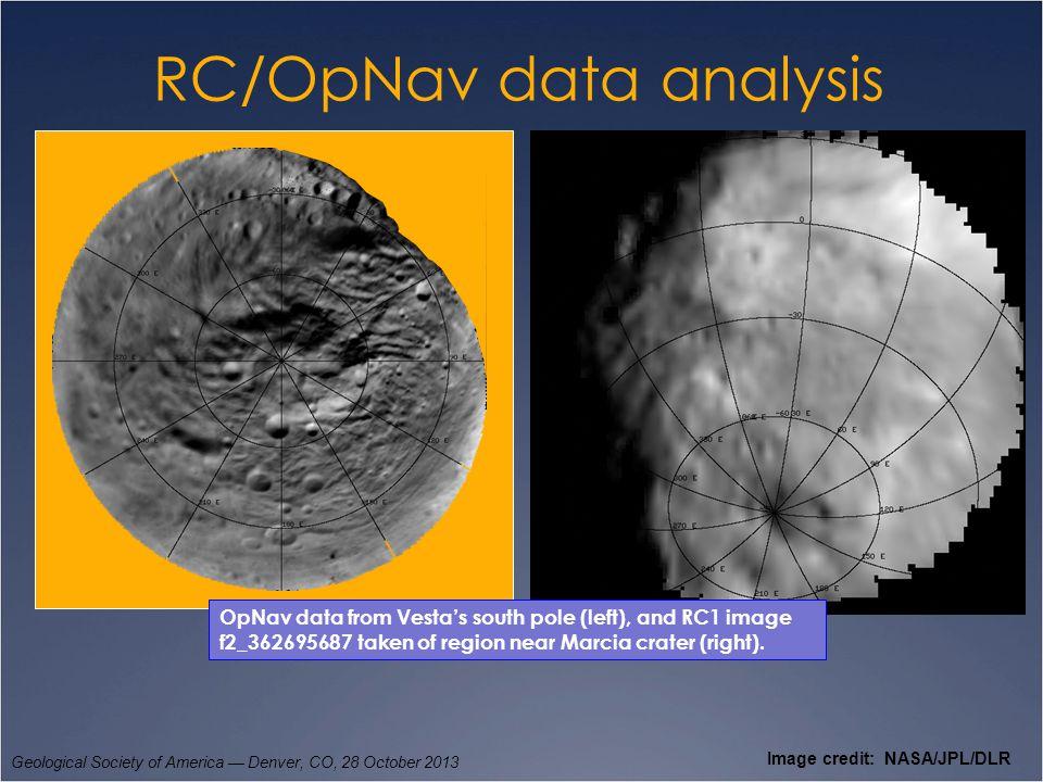 RC/OpNav data analysis Geological Society of America — Denver, CO, 28 October 2013 Image credit: NASA/JPL/DLR OpNav data from Vesta's south pole (left