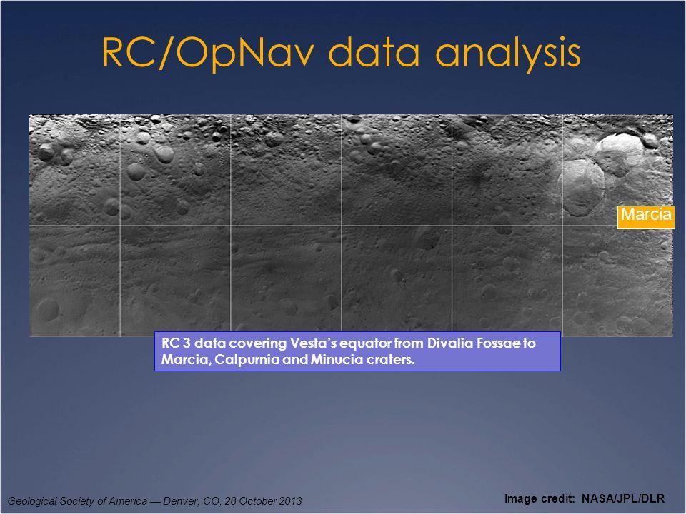 RC/OpNav data analysis Geological Society of America — Denver, CO, 28 October 2013 Image credit: NASA/JPL/DLR RC 3 data covering Vesta's equator from