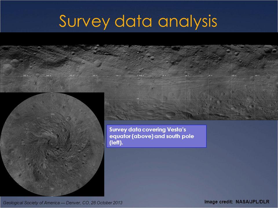 Survey data analysis Geological Society of America — Denver, CO, 28 October 2013 Image credit: NASA/JPL/DLR Survey data covering Vesta's equator (abov