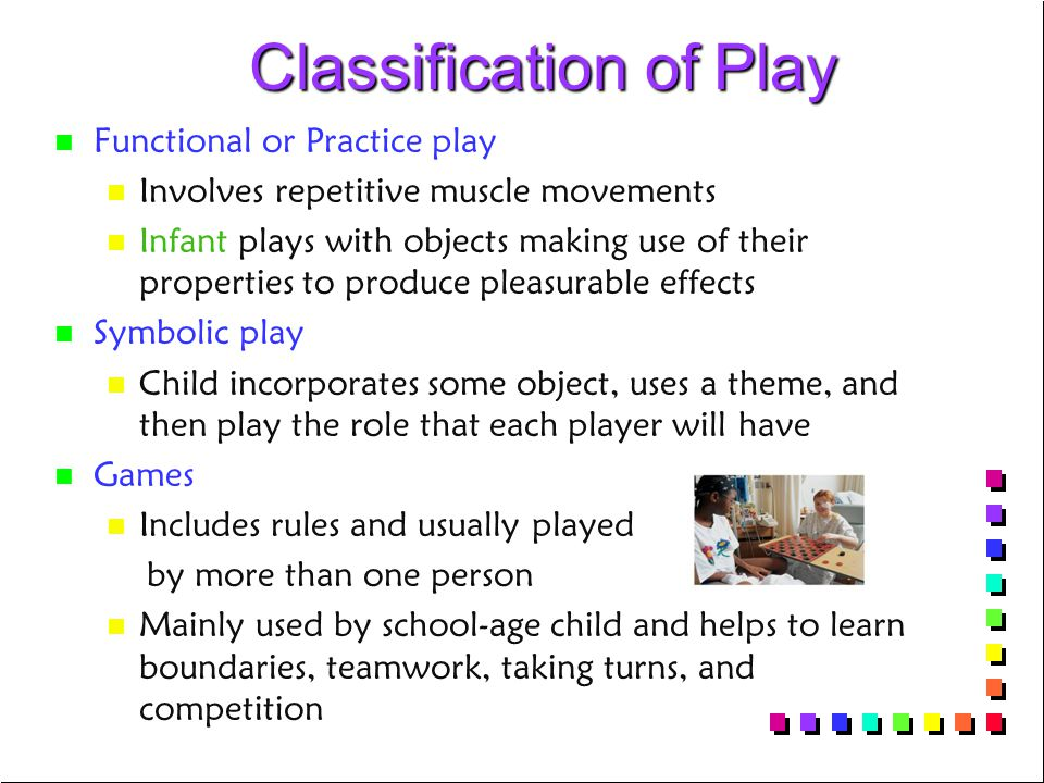 Classification of Play Classification of Play n n Functional or Practice play n n Involves repetitive muscle movements n n Infant plays with objects making use of their properties to produce pleasurable effects n n Symbolic play n n Child incorporates some object, uses a theme, and then play the role that each player will have n n Games n n Includes rules and usually played by more than one person n n Mainly used by school-age child and helps to learn boundaries, teamwork, taking turns, and competition