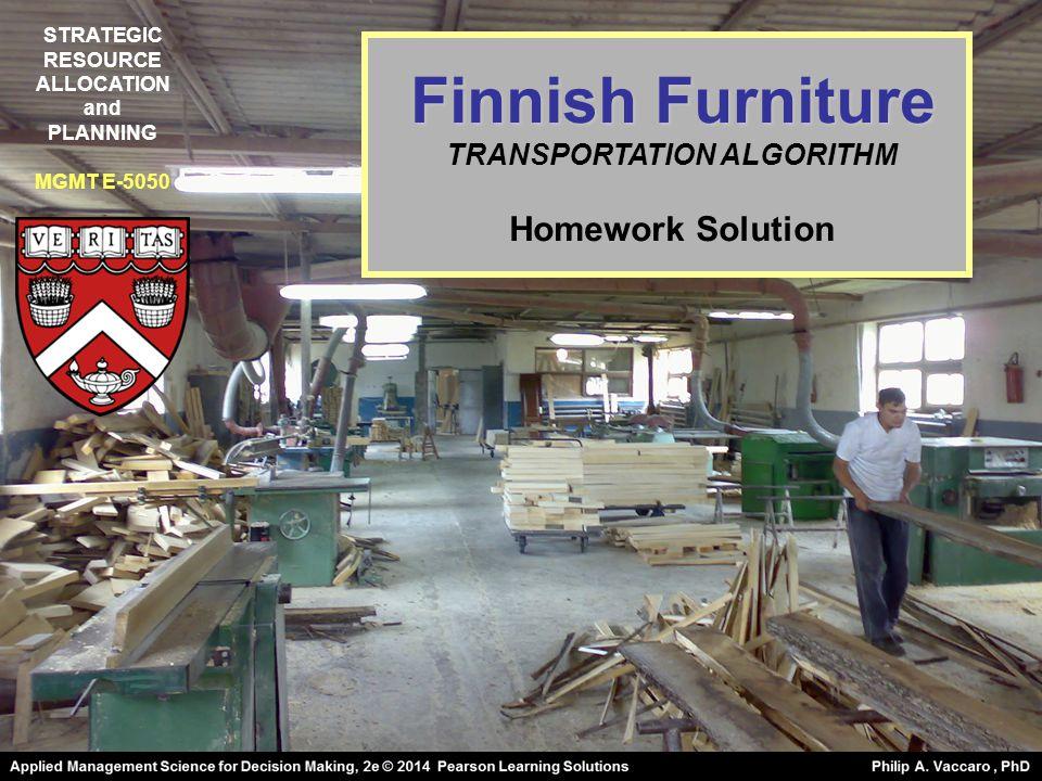 Finnish Furniture TRANSPORTATION ALGORITHM Homework Solution STRATEGIC RESOURCE ALLOCATION and PLANNING MGMT E-5050