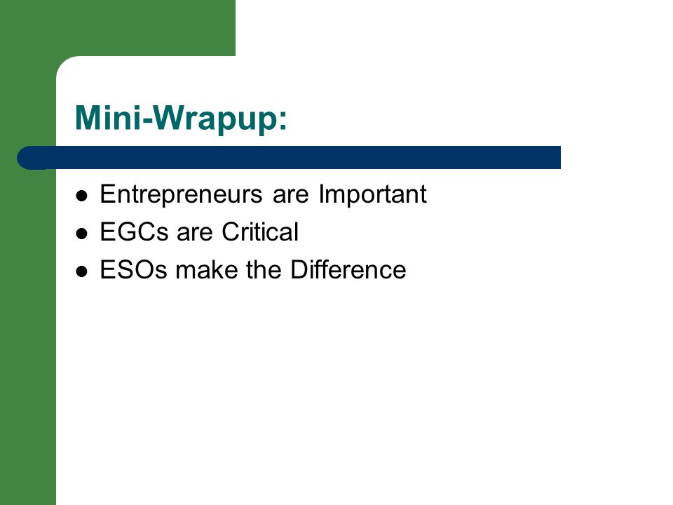 Mini-Wrapup: Entrepreneurs are Important EGCs are Critical ESOs make the Difference