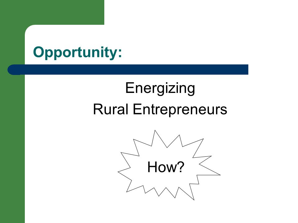 Opportunity: Energizing Rural Entrepreneurs How