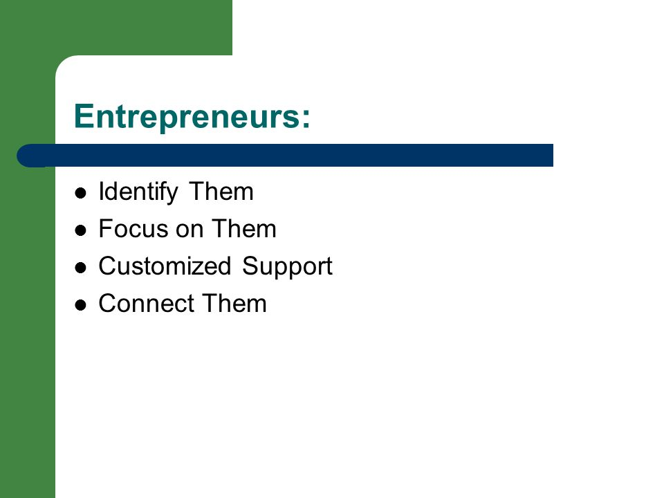 Entrepreneurs: Identify Them Focus on Them Customized Support Connect Them