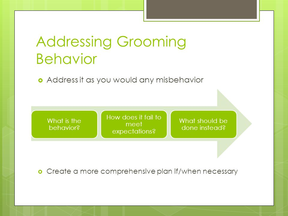 Addressing Grooming Behavior  Address it as you would any misbehavior  Create a more comprehensive plan if/when necessary What is the behavior.