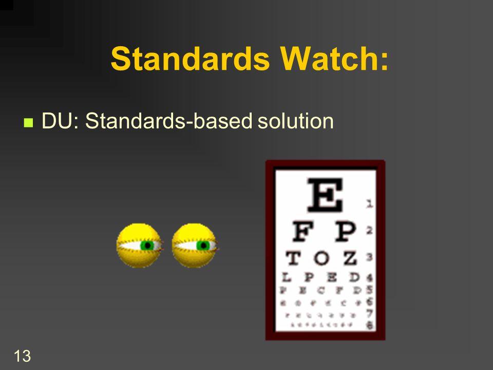 13 Standards Watch: DU: Standards-based solution