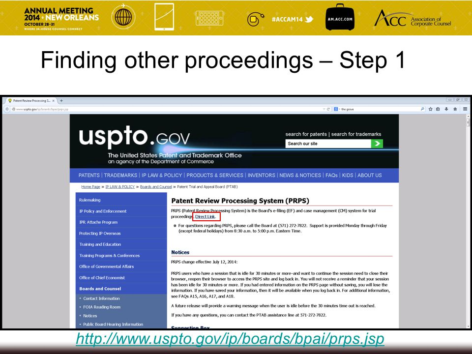http://www.uspto.gov/ip/boards/bpai/prps.jsp Finding other proceedings – Step 1