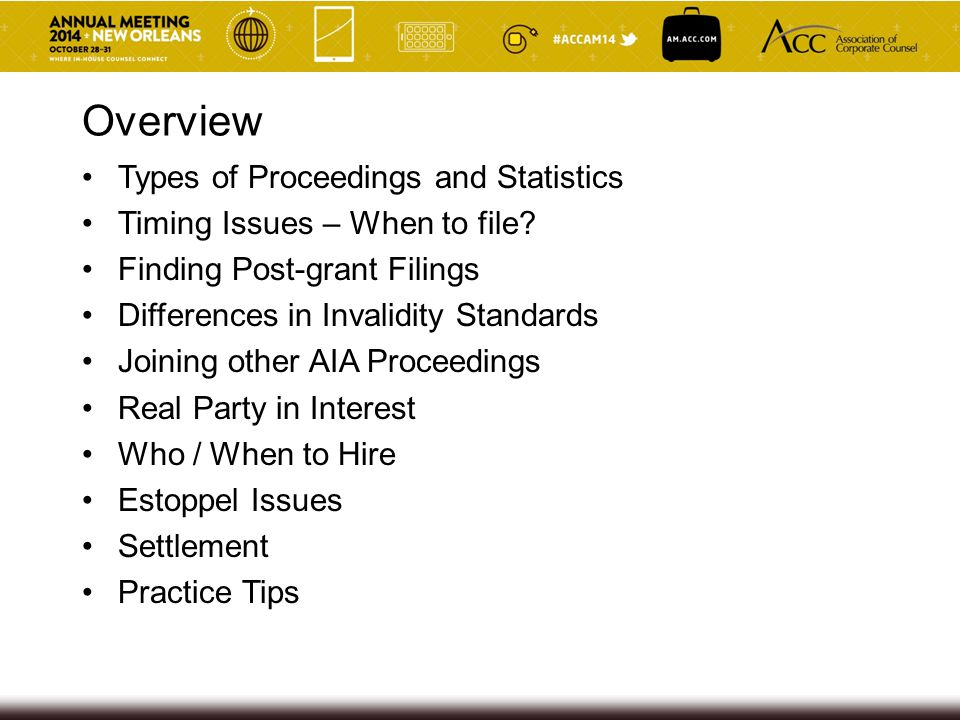 Overview Types of Proceedings and Statistics Timing Issues – When to file.