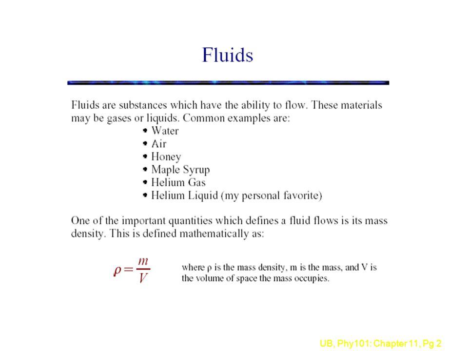 UB, Phy101: Chapter 11, Pg 3 l Density = Mass/Volume è  = M/V è units = kg/m 3 l Densities of some common things (kg/m 3 ) è Water 1000 è ice 917(floats on water) è blood 1060(sinks in water) è lead 11,300 è Copper 8890 è Mercury 13,600 è Aluminum 2700 è Wood 550 è air 1.29 è Helium 0.18 Physics 101: Density