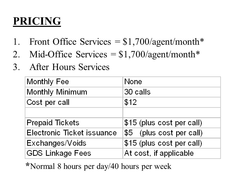 PRICING 1.Front Office Services = $1,700/agent/month* 2.Mid-Office Services = $1,700/agent/month* 3.After Hours Services * Normal 8 hours per day/40 hours per week