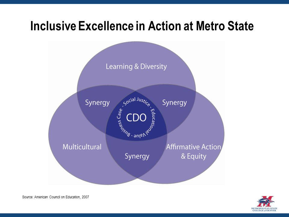Inclusive Excellence in Action at Metro State Source: American Council on Education, 2007