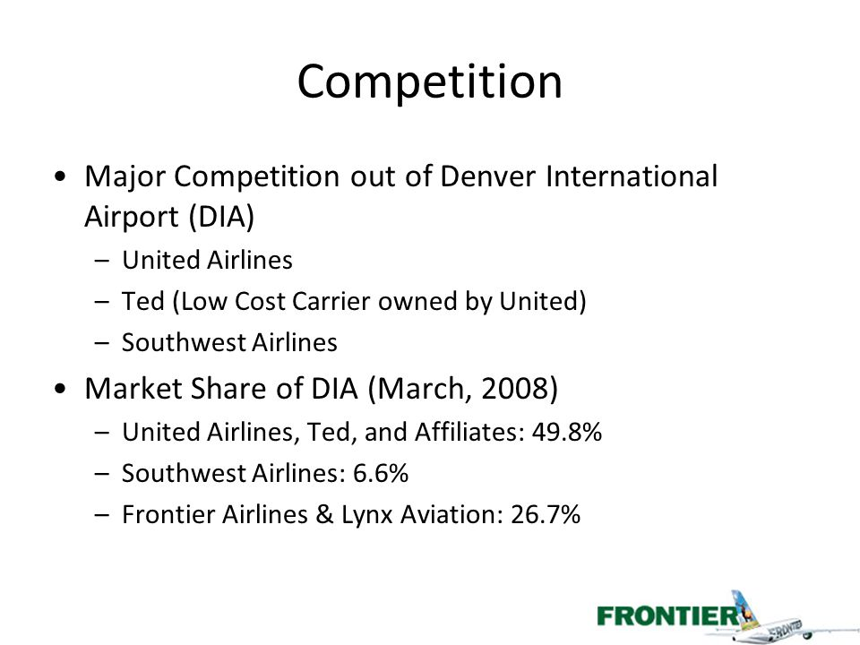 Fare Comparison AirlinePrice American Airlines$281 United Airlines$154 Frontier Airlines$154 Chicago, Illinois to Denver, Colorado –Flight Leaving Today, November 20 –Flights searched off of www.priceline.com –*Frontier's Flight from Midway, not O'Hare