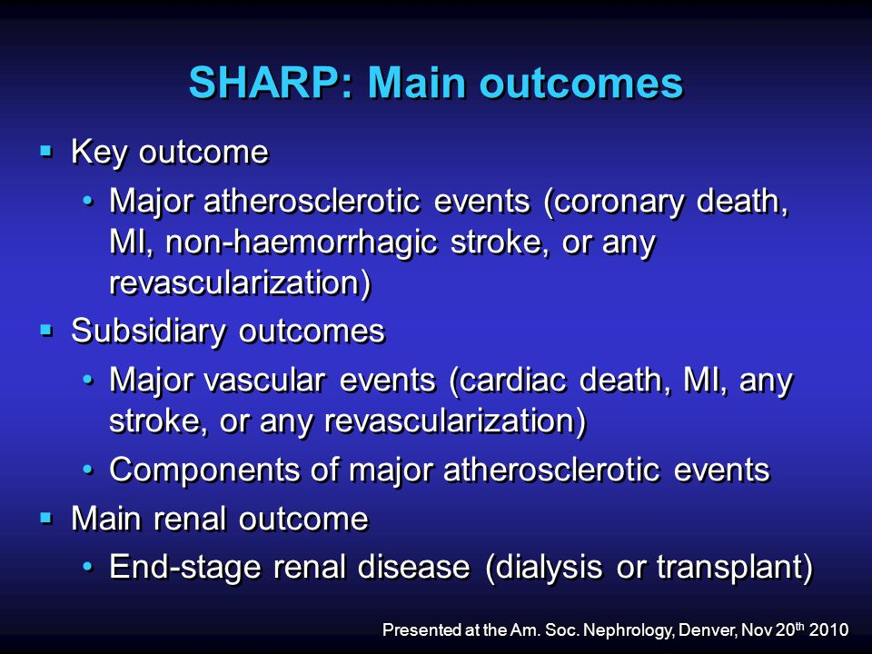 SHARP: Main outcomes  Key outcome Major atherosclerotic events (coronary death, MI, non-haemorrhagic stroke, or any revascularization)  Subsidiary outcomes Major vascular events (cardiac death, MI, any stroke, or any revascularization) Components of major atherosclerotic events  Main renal outcome End-stage renal disease (dialysis or transplant)  Key outcome Major atherosclerotic events (coronary death, MI, non-haemorrhagic stroke, or any revascularization)  Subsidiary outcomes Major vascular events (cardiac death, MI, any stroke, or any revascularization) Components of major atherosclerotic events  Main renal outcome End-stage renal disease (dialysis or transplant) Presented at the Am.
