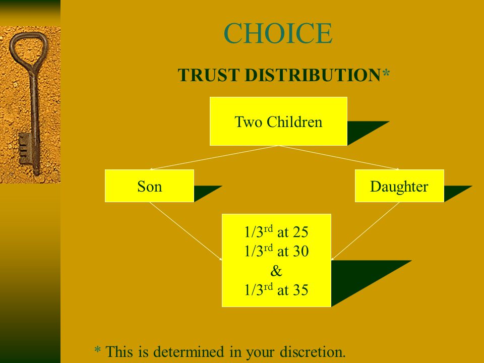 CHOICE TRUST DISTRIBUTION* Two Children SonDaughter 1/3 rd at 25 1/3 rd at 30 & 1/3 rd at 35 * This is determined in your discretion.