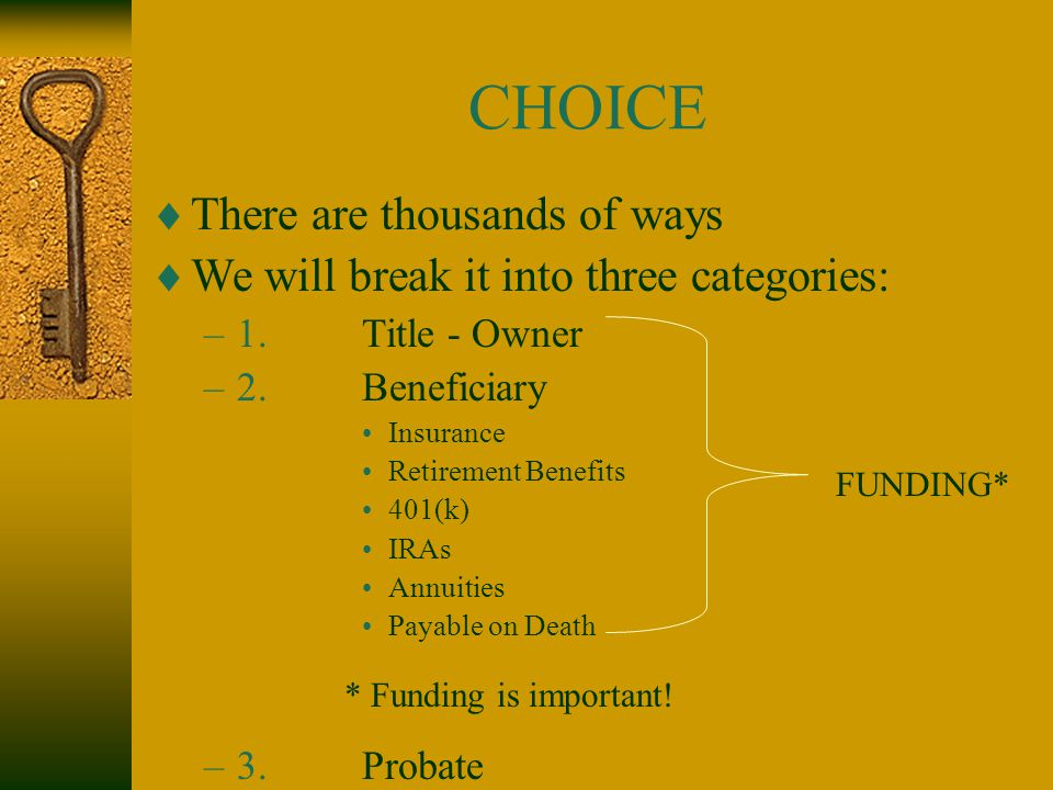 CHOICE  There are thousands of ways  We will break it into three categories: –1.Title - Owner –2.Beneficiary Insurance Retirement Benefits 401(k) IRAs Annuities Payable on Death –3.Probate FUNDING* * Funding is important!