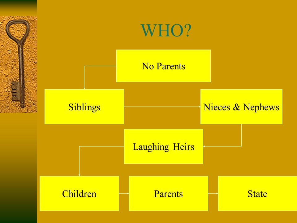 WHO? No Parents SiblingsNieces & Nephews ChildrenParents Laughing Heirs State