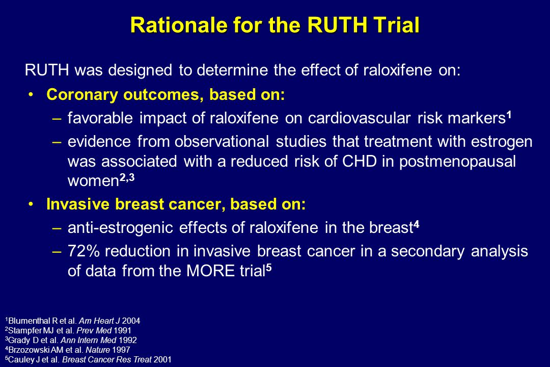 Rationale for the RUTH Trial Coronary outcomes, based on: –favorable impact of raloxifene on cardiovascular risk markers 1 –evidence from observationa