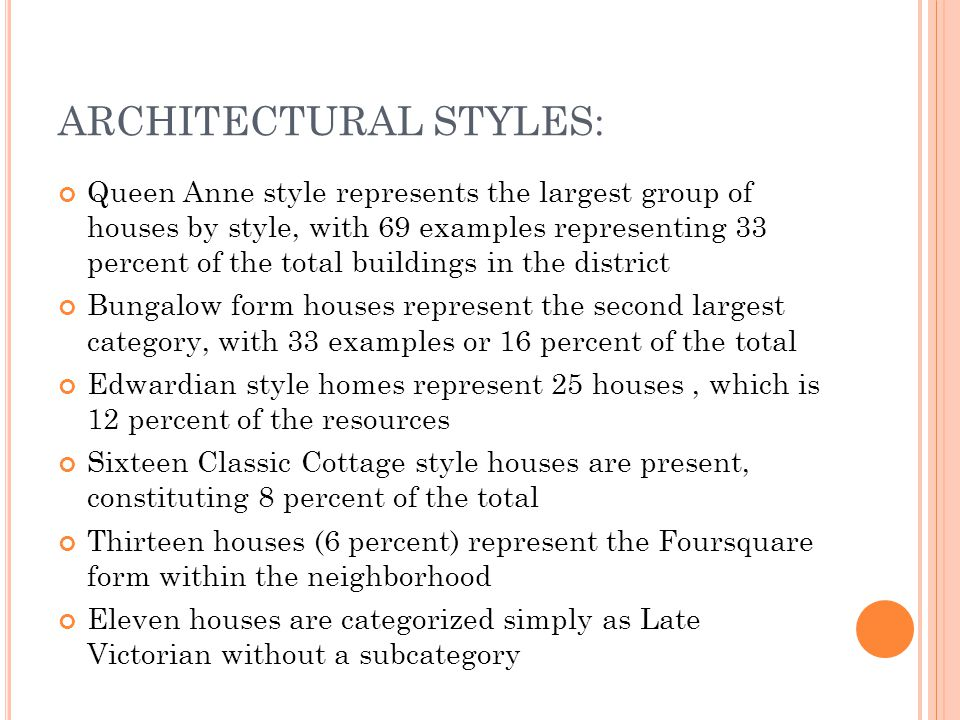 ARCHITECTURAL STYLES: Queen Anne style represents the largest group of houses by style, with 69 examples representing 33 percent of the total buildings in the district Bungalow form houses represent the second largest category, with 33 examples or 16 percent of the total Edwardian style homes represent 25 houses, which is 12 percent of the resources Sixteen Classic Cottage style houses are present, constituting 8 percent of the total Thirteen houses (6 percent) represent the Foursquare form within the neighborhood Eleven houses are categorized simply as Late Victorian without a subcategory