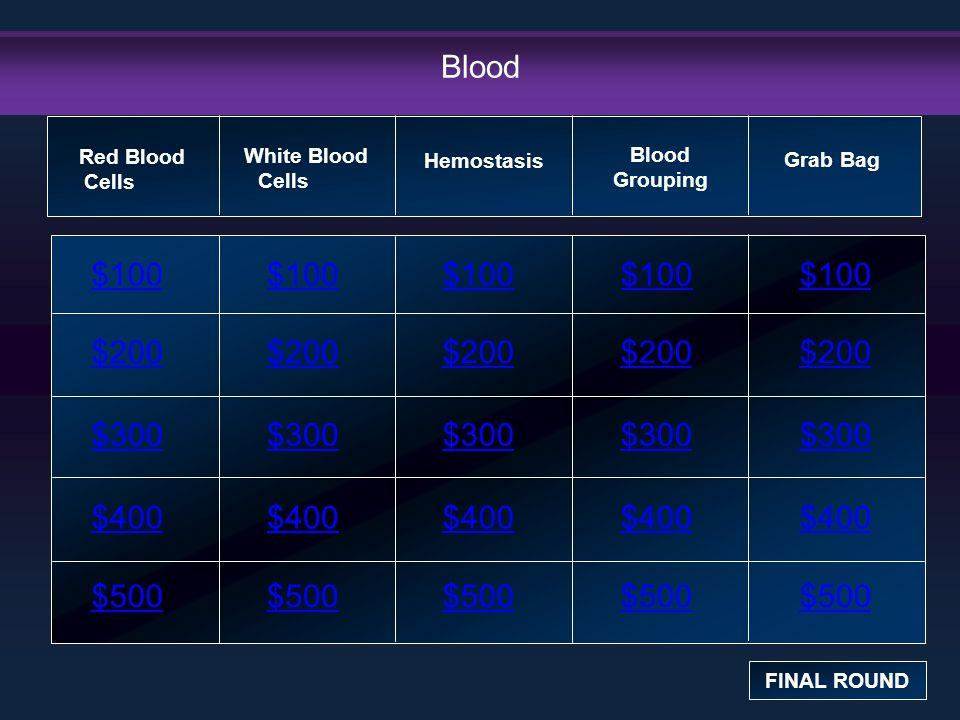 Blood $100 $200 $300 $400 $500 $100$100$100 $200 $300 $400 $500 Red Blood Cells FINAL ROUND White Blood Cells Hemostasis Blood Grouping Grab Bag