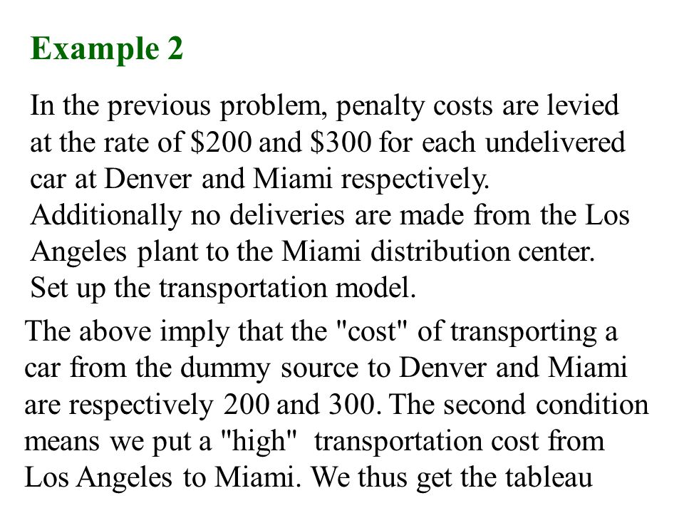 Example 2 In the previous problem, penalty costs are levied at the rate of $200 and $300 for each undelivered car at Denver and Miami respectively. Ad